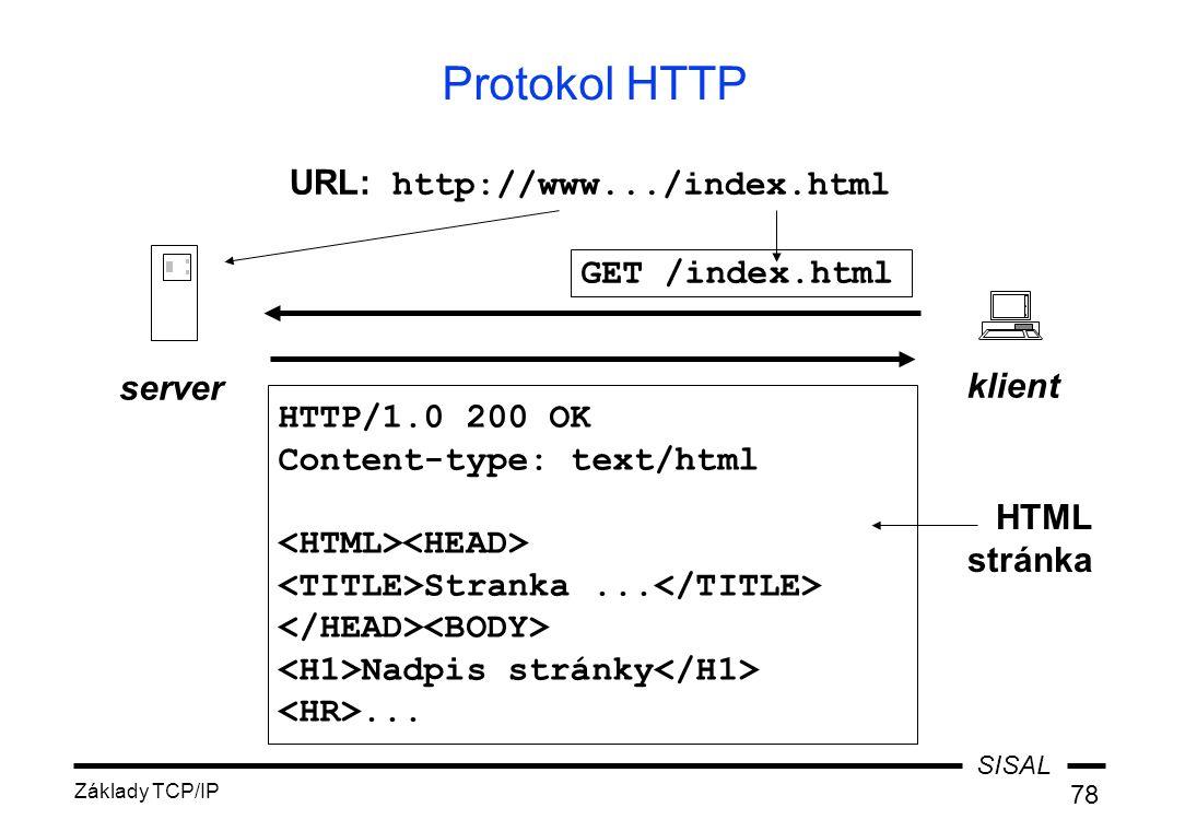 SISAL Základy TCP/IP 78 Protokol HTTP GET /index.html klient server HTTP/1.0 200 OK Content-type: text/html Stranka...