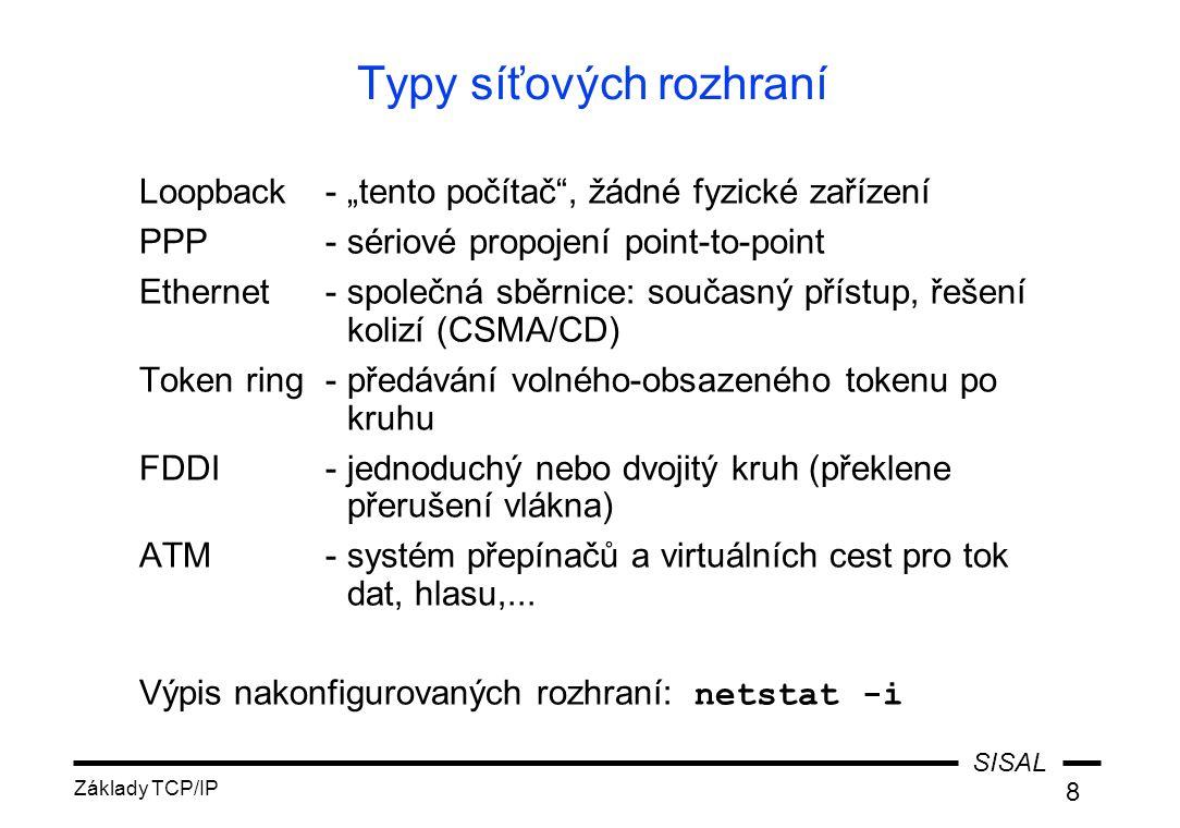 SISAL Základy TCP/IP 69 Etika poštovního styku jazyk, výrazové prostředky používání subjectu míra zachování původního textu v odpovědi účelné posílání souborů, češtiny obtěžování uživatelů a sítě, řetězové dopisy