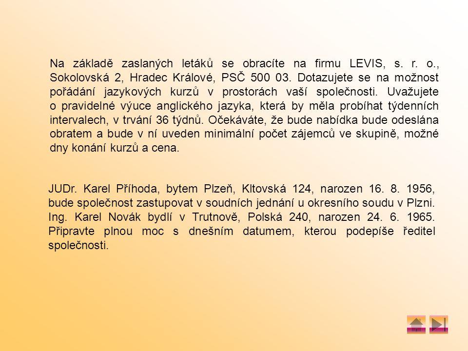 Na základě zaslaných letáků se obracíte na firmu LEVIS, s.