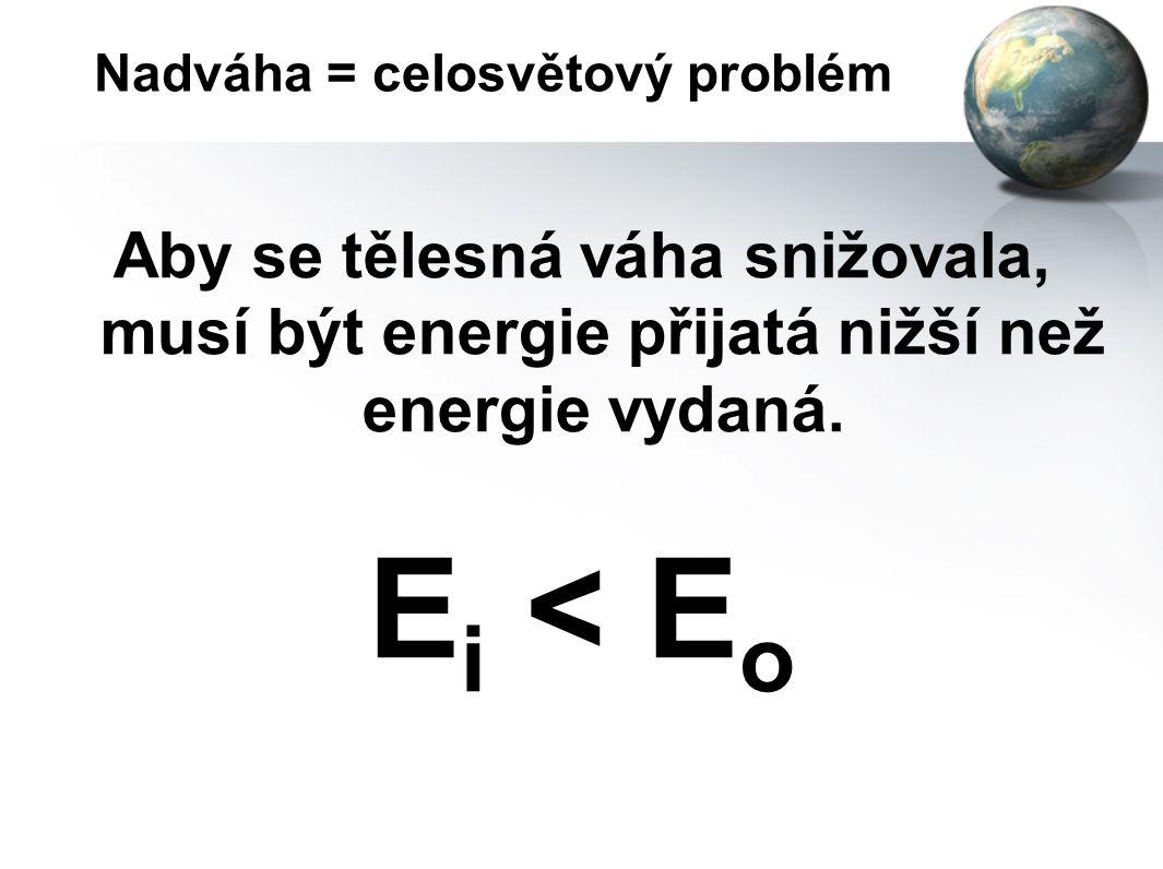 Nadváha = celosvětový problém Aby tělesná váha byla konstantní, tak energie, kterou získáme, se musí rovnat energii, kterou vydáme. E i = E o