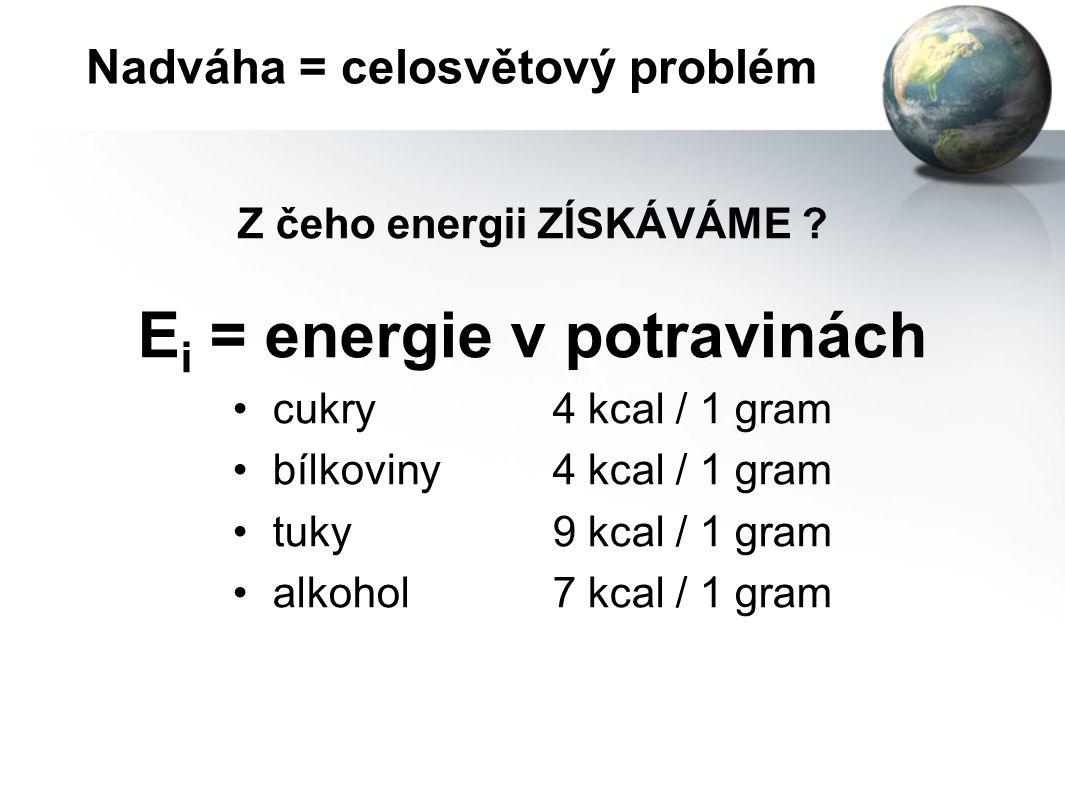 Nadváha = celosvětový problém Aby se tělesná váha snižovala, musí být energie přijatá nižší než energie vydaná. E i < E o