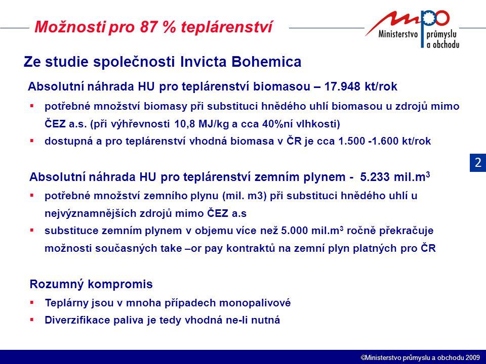  Ministerstvo průmyslu a obchodu 2009 Možnosti pro 87 % teplárenství Ze studie společnosti Invicta Bohemica Absolutní náhrada HU pro teplárenství biomasou – 17.948 kt/rok  potřebné množství biomasy při substituci hnědého uhlí biomasou u zdrojů mimo ČEZ a.s.