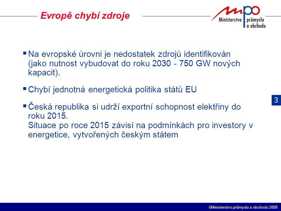 Ministerstvo průmyslu a obchodu 2009 Evropě chybí zdroje 3  Na evropské úrovni je nedostatek zdrojů identifikován (jako nutnost vybudovat do roku 2030 - 750 GW nových kapacit).