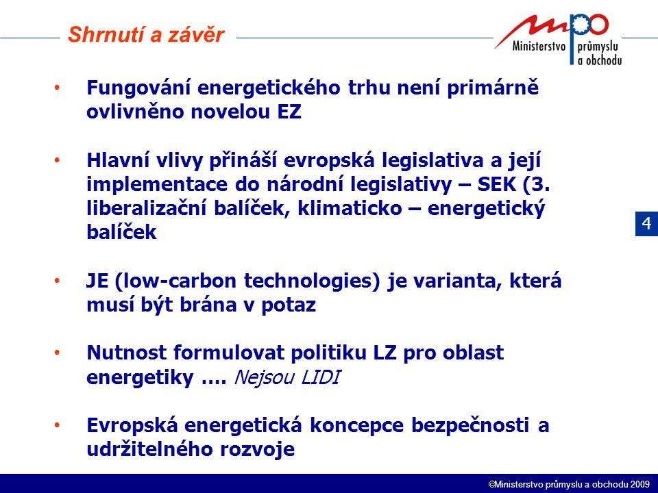  Ministerstvo průmyslu a obchodu 2009 Fungování energetického trhu není primárně ovlivněno novelou EZ Hlavní vlivy přináší evropská legislativa a jej