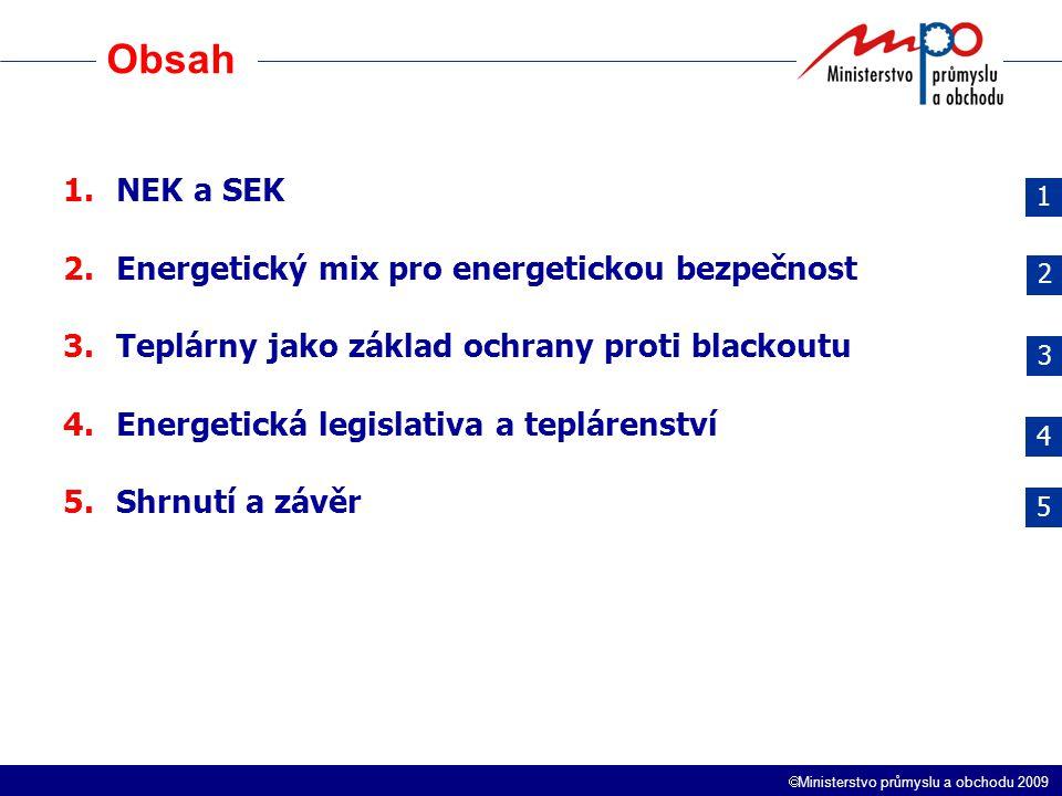  Ministerstvo průmyslu a obchodu 2009 Obsah 1.NEK a SEK 2.Energetický mix pro energetickou bezpečnost 3.Teplárny jako základ ochrany proti blackoutu 4.Energetická legislativa a teplárenství 5.Shrnutí a závěr 1 2 3 4 5