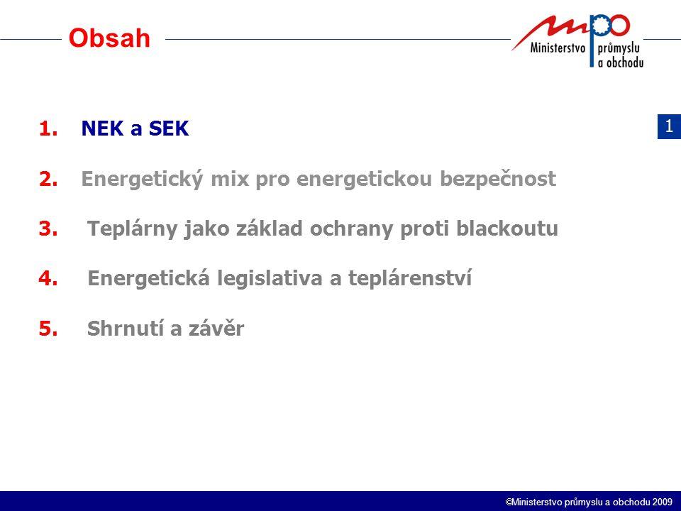  Ministerstvo průmyslu a obchodu 2009 Obsah 1.NEK a SEK 2.Energetický mix pro energetickou bezpečnost 3. Teplárny jako základ ochrany proti blackoutu