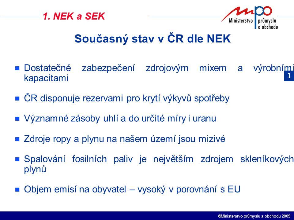  Ministerstvo průmyslu a obchodu 2009 1. NEK a SEK 1 Dostatečné zabezpečení zdrojovým mixem a výrobními kapacitami ČR disponuje rezervami pro krytí v