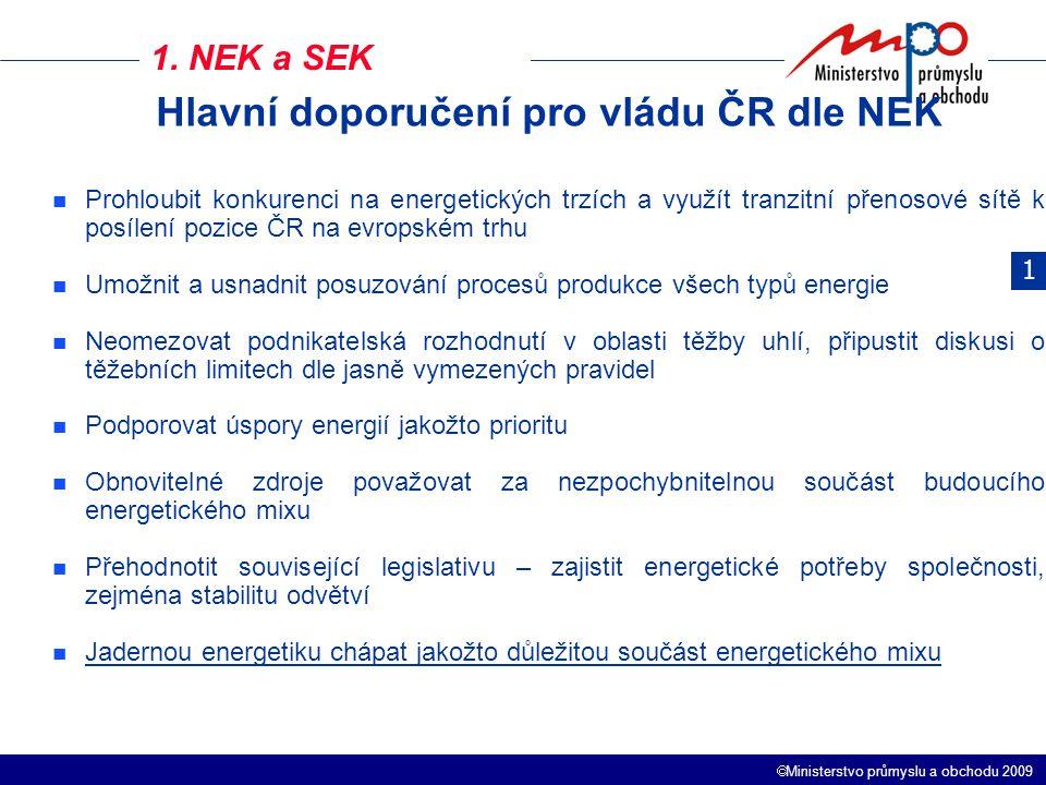  Ministerstvo průmyslu a obchodu 2009 1. NEK a SEK 1 Prohloubit konkurenci na energetických trzích a využít tranzitní přenosové sítě k posílení pozic