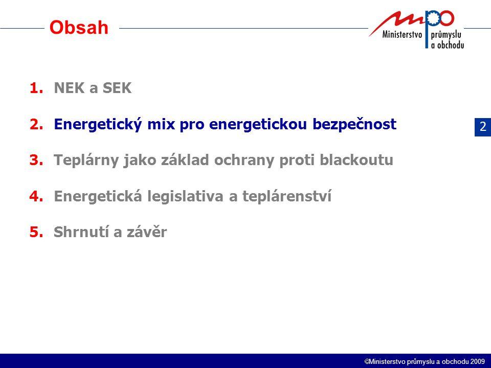  Ministerstvo průmyslu a obchodu 2009 Možná struktura mixu Jedna z možných variant energetického mixu 2