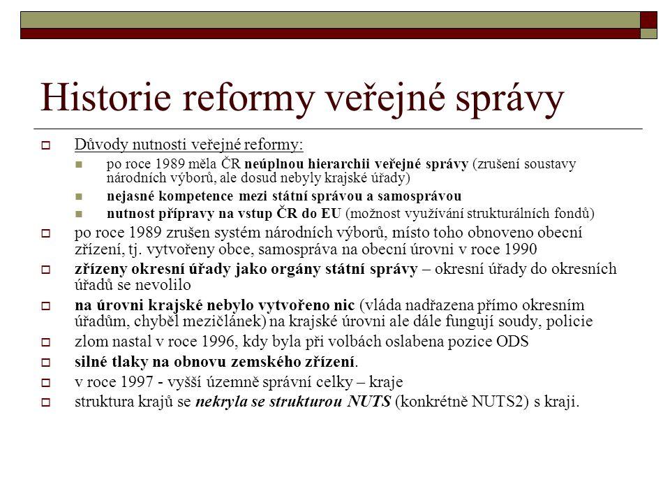 Historie reformy veřejné správy  Důvody nutnosti veřejné reformy: po roce 1989 měla ČR neúplnou hierarchii veřejné správy (zrušení soustavy národních