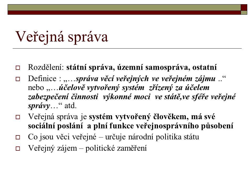 """Veřejná správa  Rozdělení: státní správa, územní samospráva, ostatní  Definice : """"…správa věcí veřejných ve veřejném zájmu.."""" nebo """"…účelově vytvoře"""