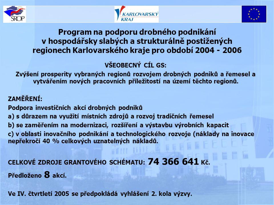 Program na podporu drobného podnikání v hospodářsky slabých a strukturálně postižených regionech Karlovarského kraje pro období 2004 - 2006 VŠEOBECNÝ CÍL GS: Zvýšení prosperity vybraných regionů rozvojem drobných podniků a řemesel a vytvářením nových pracovních příležitostí na území těchto regionů.