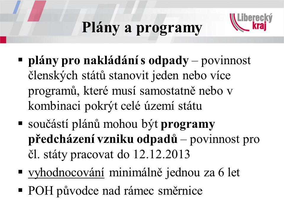 Plány a programy  plány pro nakládání s odpady – povinnost členských států stanovit jeden nebo více programů, které musí samostatně nebo v kombinaci pokrýt celé území státu  součástí plánů mohou být programy předcházení vzniku odpadů – povinnost pro čl.