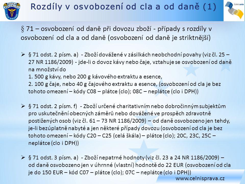 Rozdíly v osvobození od cla a od daně (1) www.celnisprava.cz § 71 – osvobození od daně při dovozu zboží - případy s rozdíly v osvobození od cla a od d