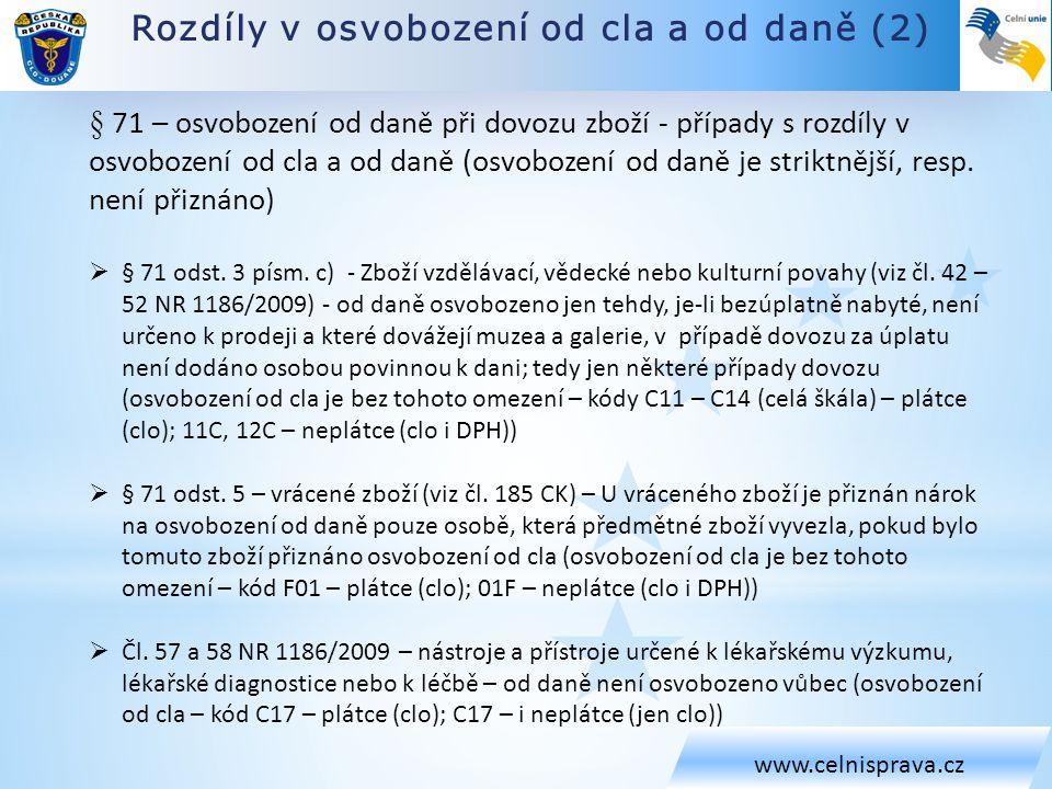 Rozdíly v osvobození od cla a od daně (2) www.celnisprava.cz § 71 – osvobození od daně při dovozu zboží - případy s rozdíly v osvobození od cla a od d