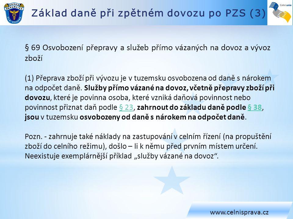 Základ daně při zpětném dovozu po PZS (4) www.celnisprava.cz Čl.