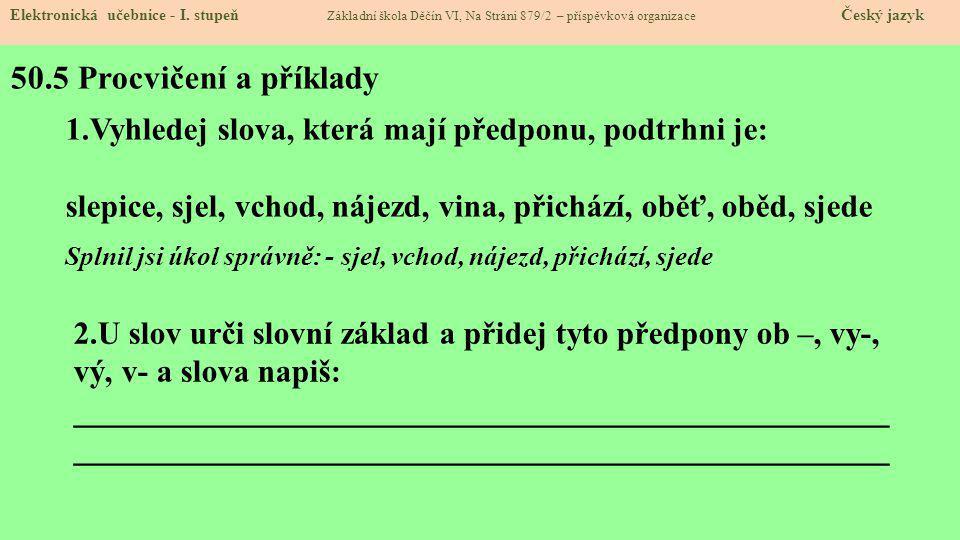 50.5 Procvičení a příklady Elektronická učebnice - I.
