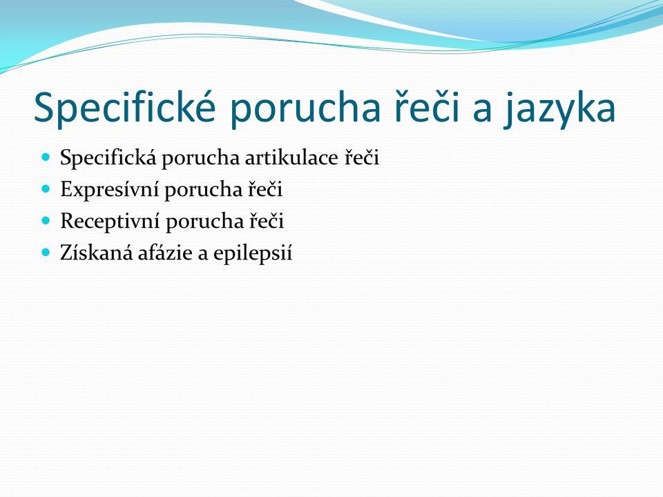 Specifické porucha řeči a jazyka Specifická porucha artikulace řeči Expresívní porucha řeči Receptivní porucha řeči Získaná afázie a epilepsií