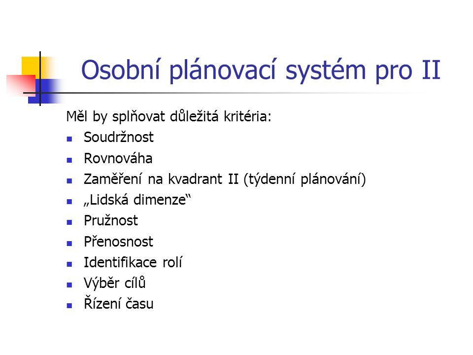 """Osobní plánovací systém pro II Měl by splňovat důležitá kritéria: Soudržnost Rovnováha Zaměření na kvadrant II (týdenní plánování) """"Lidská dimenze"""" Pr"""