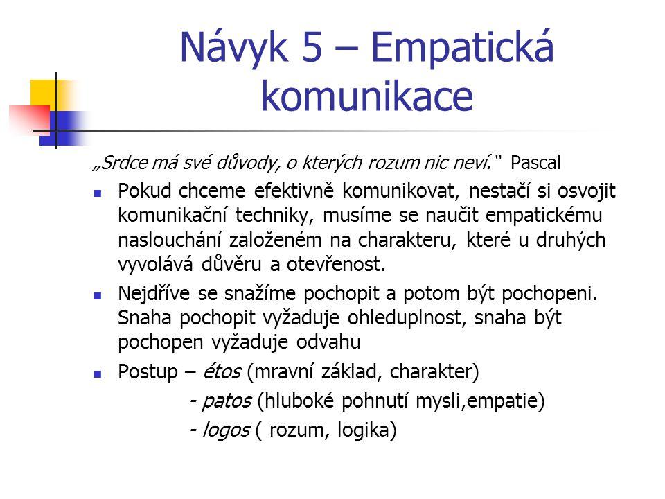 """Návyk 5 – Empatická komunikace """"Srdce má své důvody, o kterých rozum nic neví."""" Pascal Pokud chceme efektivně komunikovat, nestačí si osvojit komunika"""