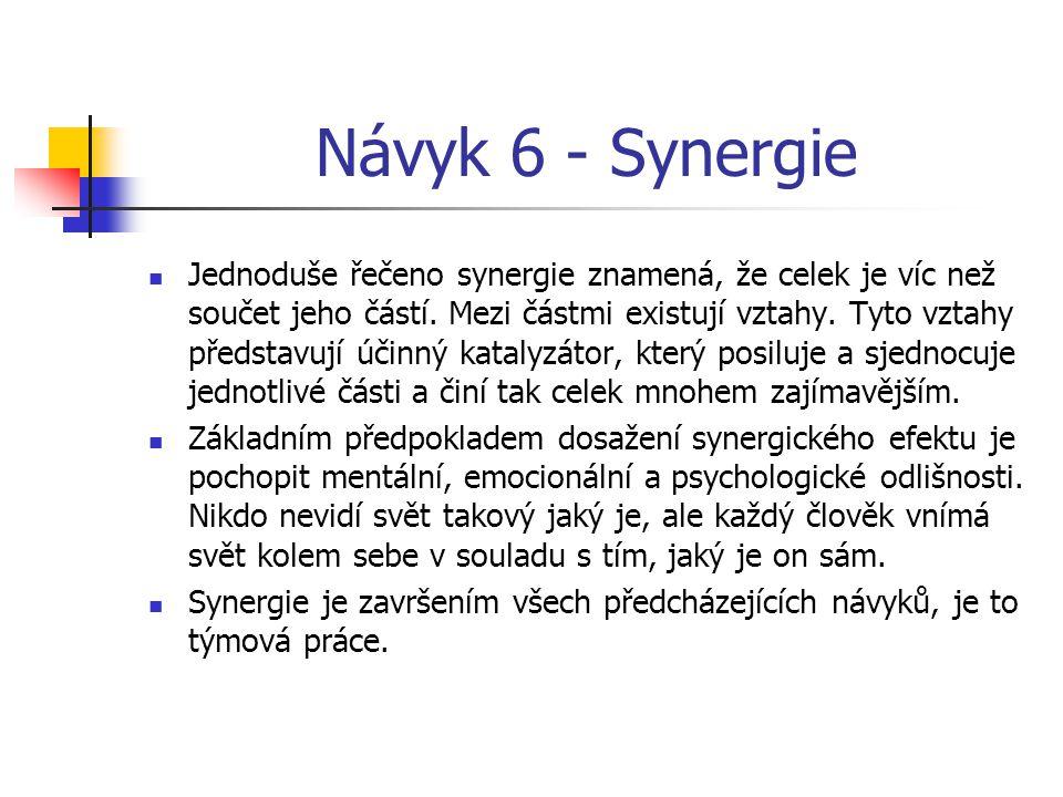 Návyk 6 - Synergie Jednoduše řečeno synergie znamená, že celek je víc než součet jeho částí. Mezi částmi existují vztahy. Tyto vztahy představují účin