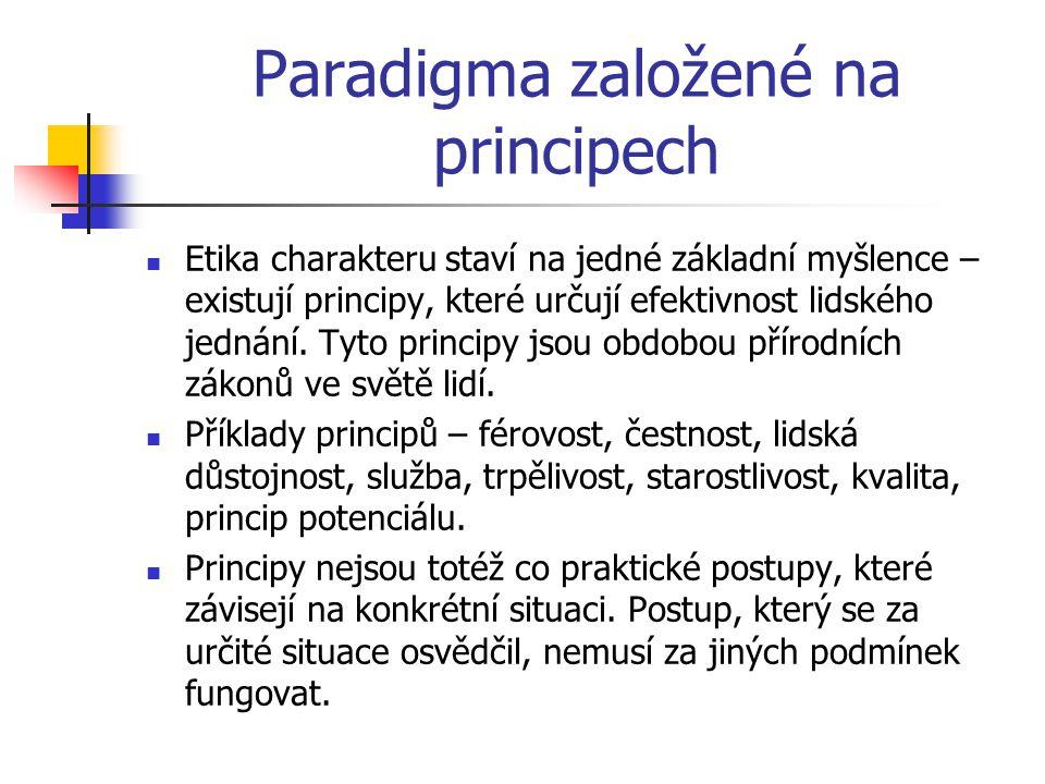 Paradigma založené na principech Etika charakteru staví na jedné základní myšlence – existují principy, které určují efektivnost lidského jednání. Tyt