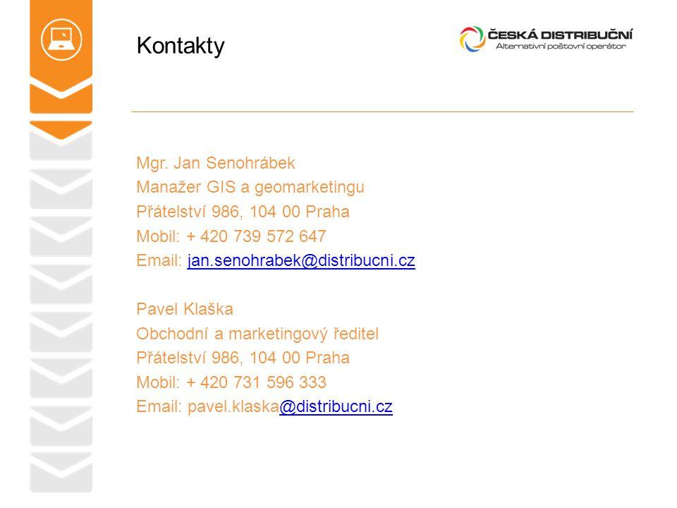 Kontakty Mgr. Jan Senohrábek Manažer GIS a geomarketingu Přátelství 986, 104 00 Praha Mobil: + 420 739 572 647 Email: jan.senohrabek@distribucni.czjan