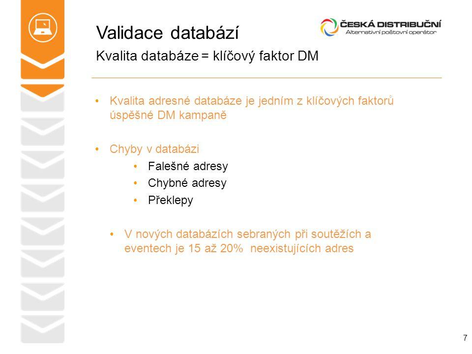Validace databází Kvalita adresné databáze je jedním z klíčových faktorů úspěšné DM kampaně Chyby v databázi Falešné adresy Chybné adresy Překlepy V n