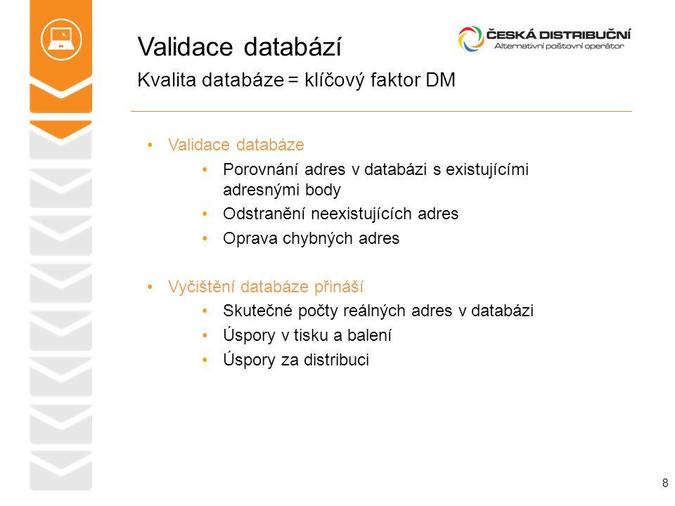 Validace databází 8 Kvalita databáze = klíčový faktor DM Validace databáze Porovnání adres v databázi s existujícími adresnými body Odstranění neexist