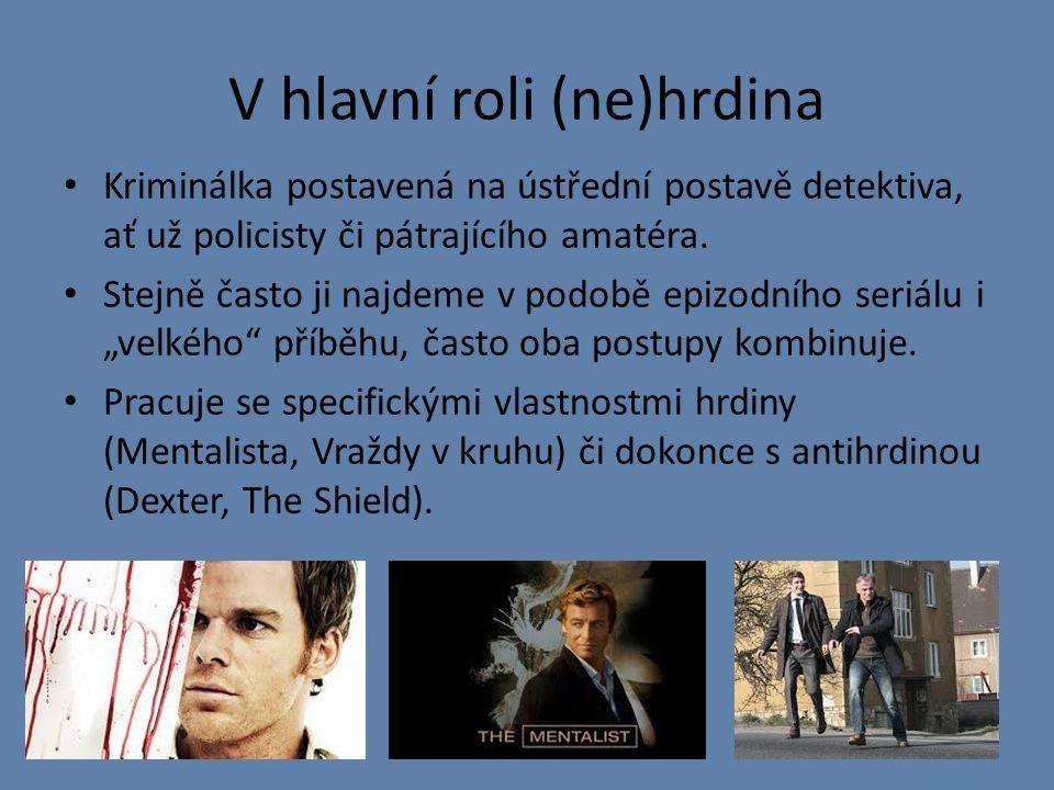V hlavní roli (ne)hrdina Kriminálka postavená na ústřední postavě detektiva, ať už policisty či pátrajícího amatéra.