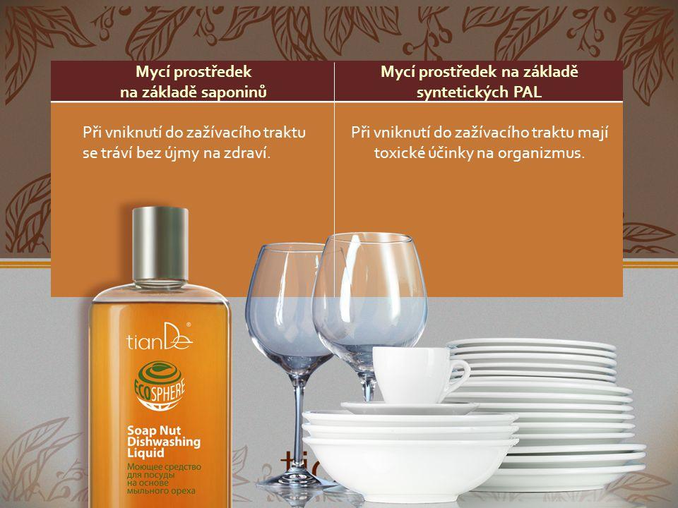 Mycí prostředek na základě saponinů Mycí prostředek na základě syntetických PAL Nezpůsobuje alkalickou reakci, nedráždí a nevysušuje pokožku.
