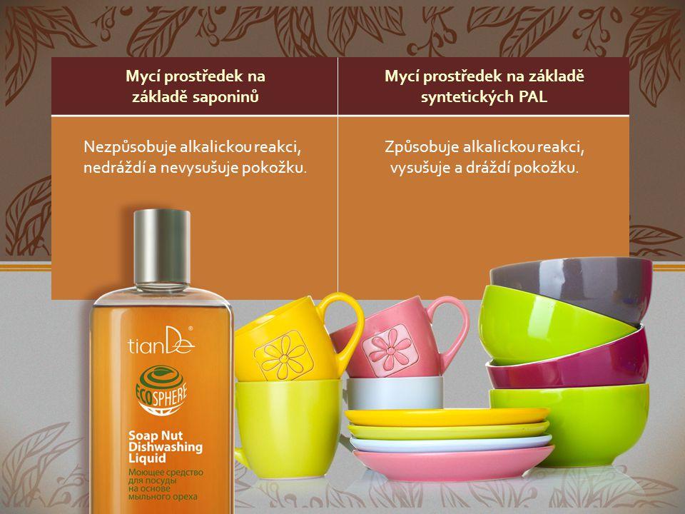 Mycí prostředek na základě saponinů Mycí prostředek na základě syntetických PAL Nezpůsobuje alkalickou reakci, nedráždí a nevysušuje pokožku. Způsobuj