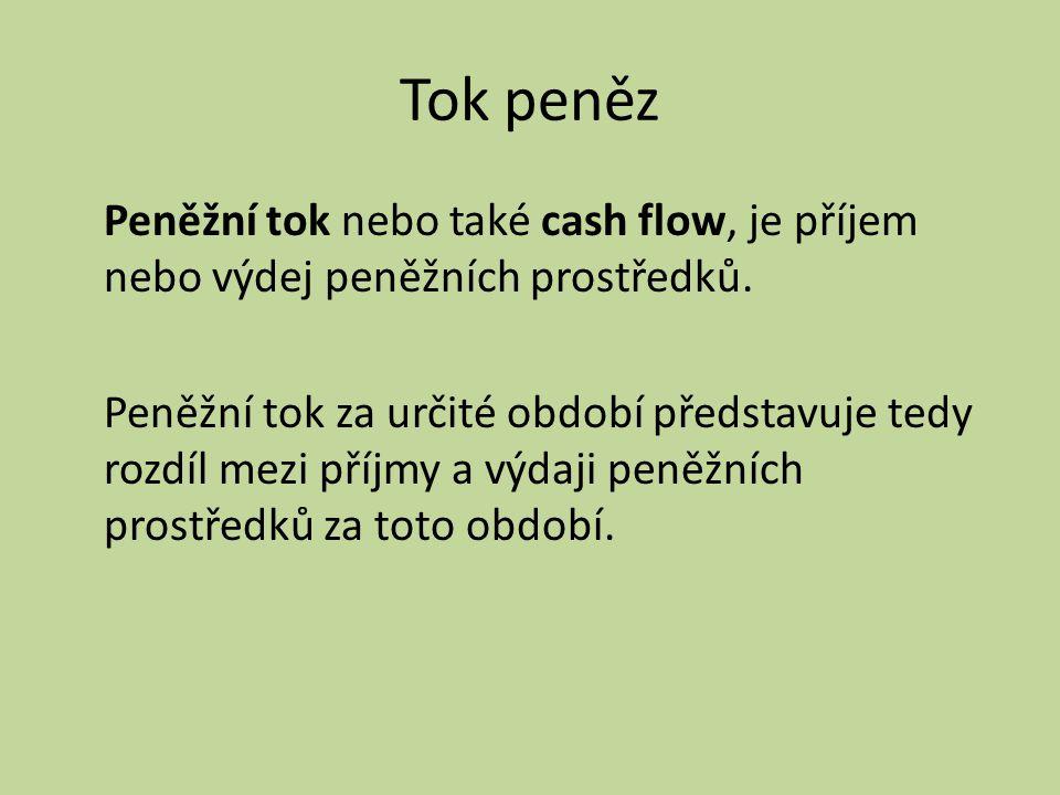 Tok peněz Peněžní tok nebo také cash flow, je příjem nebo výdej peněžních prostředků. Peněžní tok za určité období představuje tedy rozdíl mezi příjmy
