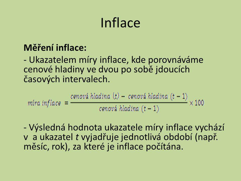 Inflace Měření inflace: - Ukazatelem míry inflace, kde porovnáváme cenové hladiny ve dvou po sobě jdoucích časových intervalech. - Výsledná hodnota uk