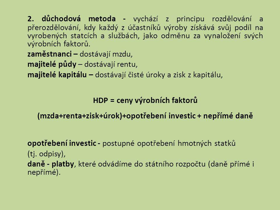 2. důchodová metoda - vychází z principu rozdělování a přerozdělování, kdy každý z účastníků výroby získává svůj podíl na vyrobených statcích a službá