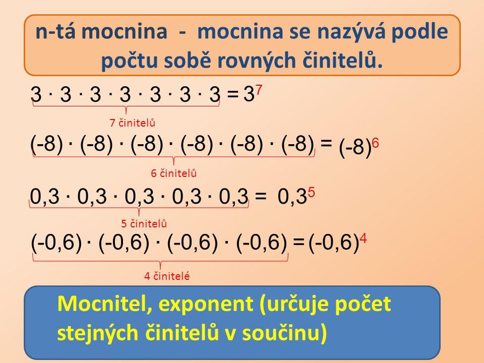 n-tá mocnina - mocnina se nazývá podle počtu sobě rovných činitelů. 3737 (-8) 6 0,3 5 (-0,6) 4 3 ∙ 3 ∙ 3 ∙ 3 ∙ 3 ∙ 3 ∙ 3 = Mocnitel, exponent (určuje