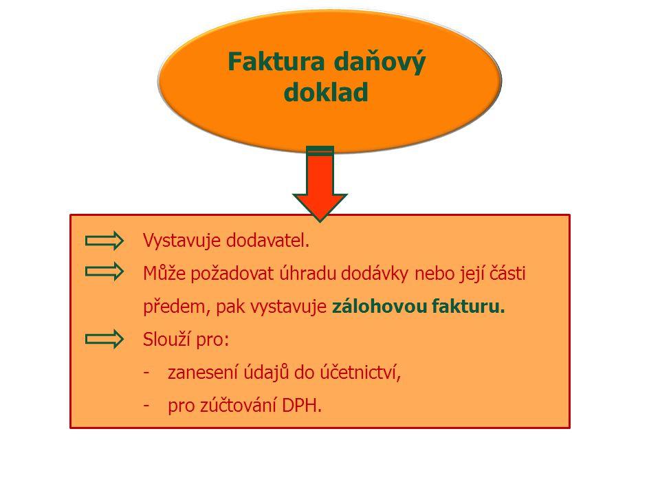 Faktura daňový doklad Vystavuje dodavatel. Může požadovat úhradu dodávky nebo její části předem, pak vystavuje zálohovou fakturu. Slouží pro: -zanesen