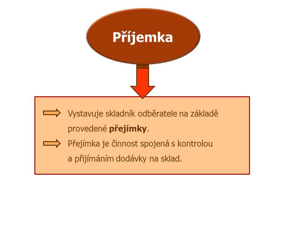 Příjemka Vystavuje skladník odběratele na základě provedené přejímky. Přejímka je činnost spojená s kontrolou a přijímáním dodávky na sklad.
