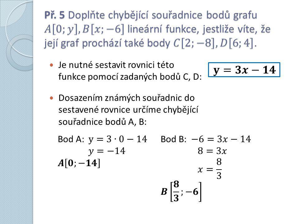 Je nutné sestavit rovnici této funkce pomocí zadaných bodů C, D: Dosazením známých souřadnic do sestavené rovnice určíme chybějící souřadnice bodů A, B: