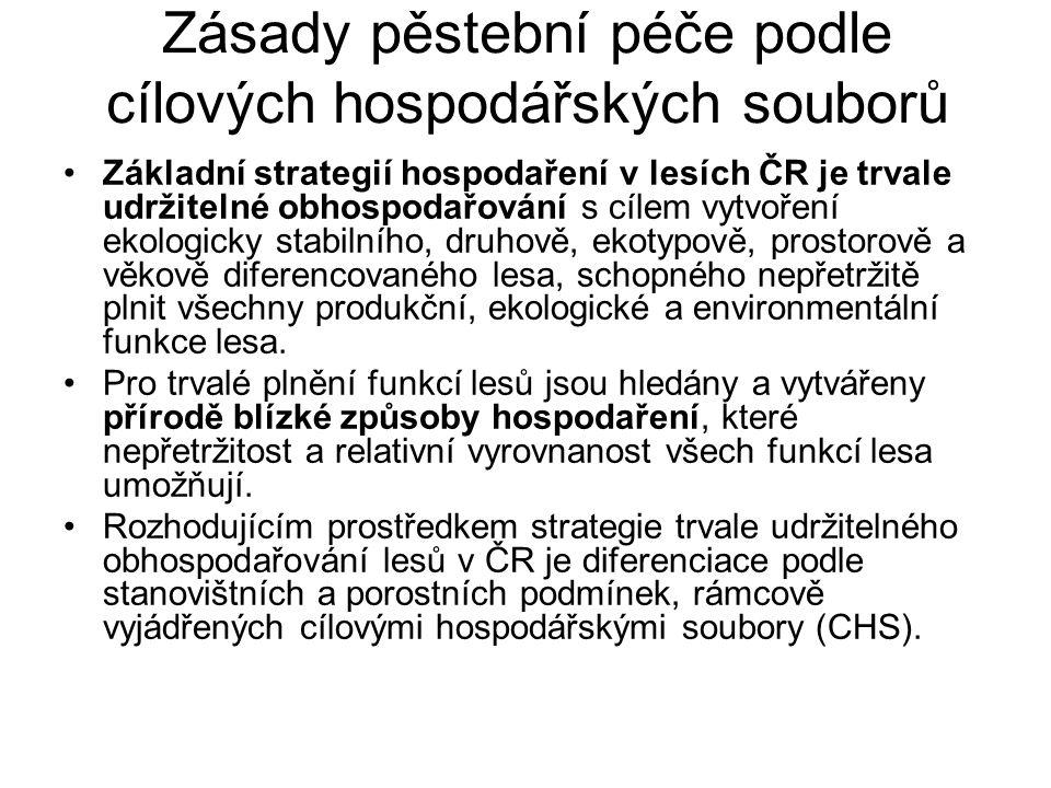 Zásady pěstební péče podle cílových hospodářských souborů Základní strategií hospodaření v lesích ČR je trvale udržitelné obhospodařování s cílem vytv