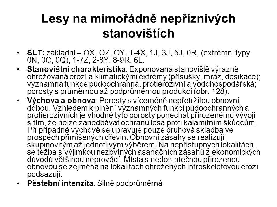 Lesy na mimořádně nepříznivých stanovištích SLT: základní – OX, OZ, OY, 1-4X, 1J, 3J, 5J, 0R, (extrémní typy 0N, 0C, 0Q), 1-7Z, 2-8Y, 8-9R, 6L. Stanov