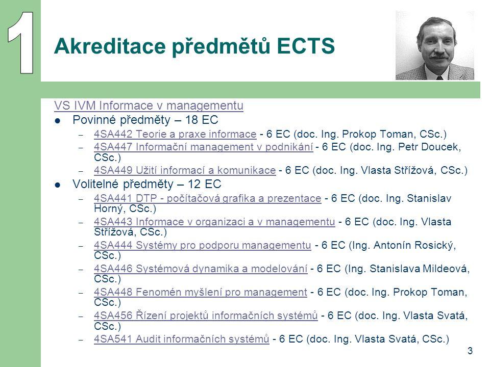 3 Akreditace předmětů ECTS VS IVM Informace v managementu Povinné předměty – 18 EC – 4SA442 Teorie a praxe informace - 6 EC (doc. Ing. Prokop Toman, C
