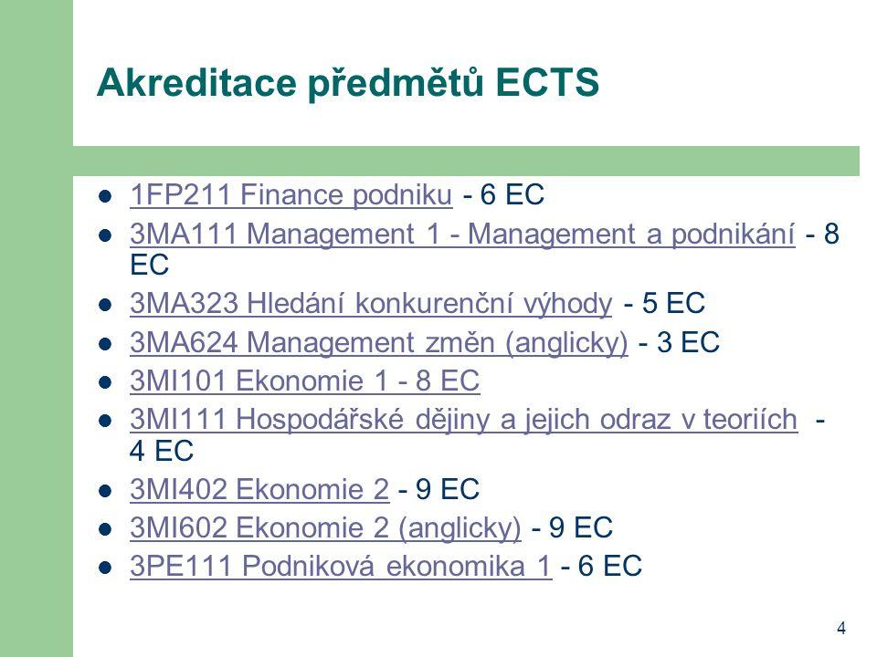 4 Akreditace předmětů ECTS 1FP211 Finance podniku - 6 EC 1FP211 Finance podniku 3MA111 Management 1 - Management a podnikání - 8 EC 3MA111 Management 1 - Management a podnikání 3MA323 Hledání konkurenční výhody - 5 EC 3MA323 Hledání konkurenční výhody 3MA624 Management změn (anglicky) - 3 EC 3MA624 Management změn (anglicky) 3MI101 Ekonomie 1 - 8 EC 3MI111 Hospodářské dějiny a jejich odraz v teoriích - 4 EC 3MI111 Hospodářské dějiny a jejich odraz v teoriích 3MI402 Ekonomie 2 - 9 EC 3MI402 Ekonomie 2 3MI602 Ekonomie 2 (anglicky) - 9 EC 3MI602 Ekonomie 2 (anglicky) 3PE111 Podniková ekonomika 1 - 6 EC 3PE111 Podniková ekonomika 1