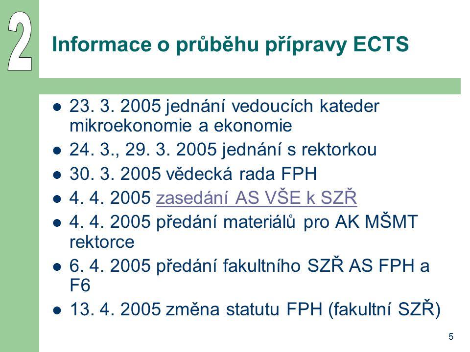 5 Informace o průběhu přípravy ECTS 23. 3. 2005 jednání vedoucích kateder mikroekonomie a ekonomie 24. 3., 29. 3. 2005 jednání s rektorkou 30. 3. 2005