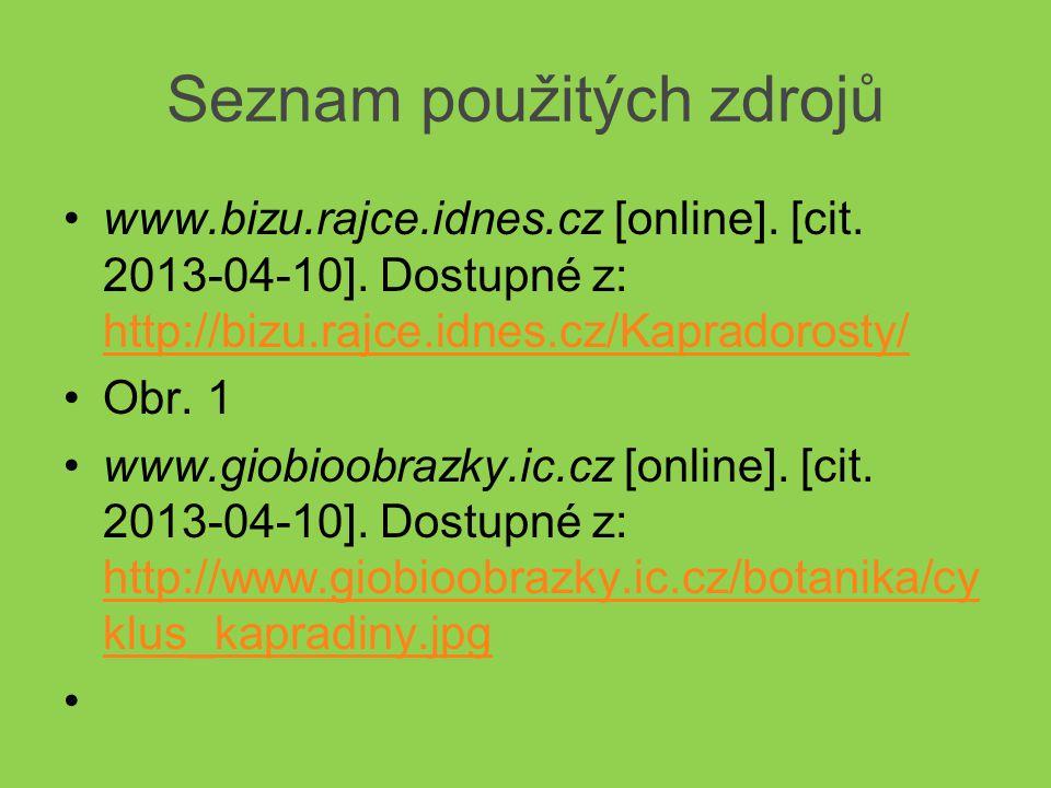 Seznam použitých zdrojů www.bizu.rajce.idnes.cz [online]. [cit. 2013-04-10]. Dostupné z: http://bizu.rajce.idnes.cz/Kapradorosty/ http://bizu.rajce.id