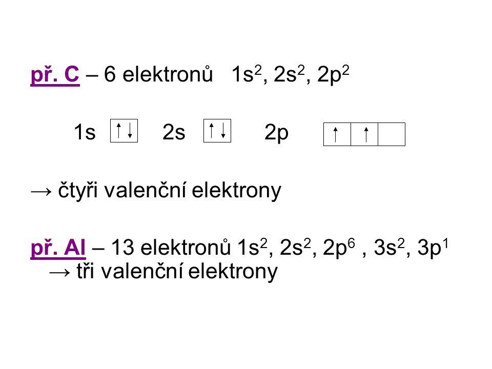 př.C – 6 elektronů 1s 2, 2s 2, 2p 2 1s 2s 2p → čtyři valenční elektrony př.