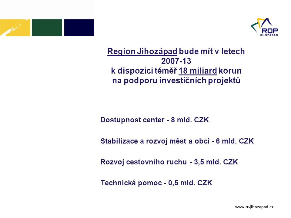 www.rr-jihozapad.cz Region Jihozápad bude mít v letech 2007-13 k dispozici téměř 18 miliard korun na podporu investičních projektů Dostupnost center -