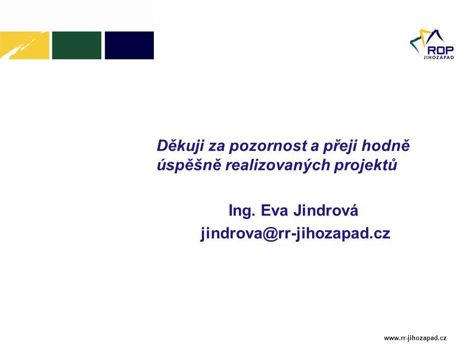 Děkuji za pozornost a přeji hodně úspěšně realizovaných projektů Ing. Eva Jindrová jindrova@rr-jihozapad.cz