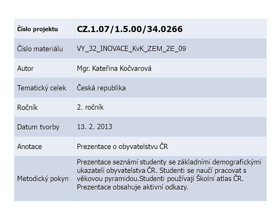 Číslo projektu CZ.1.07/1.5.00/34.0266 Číslo materiálu VY_32_INOVACE_KvK_ ZEM _2 E _0 9 Autor Mgr.