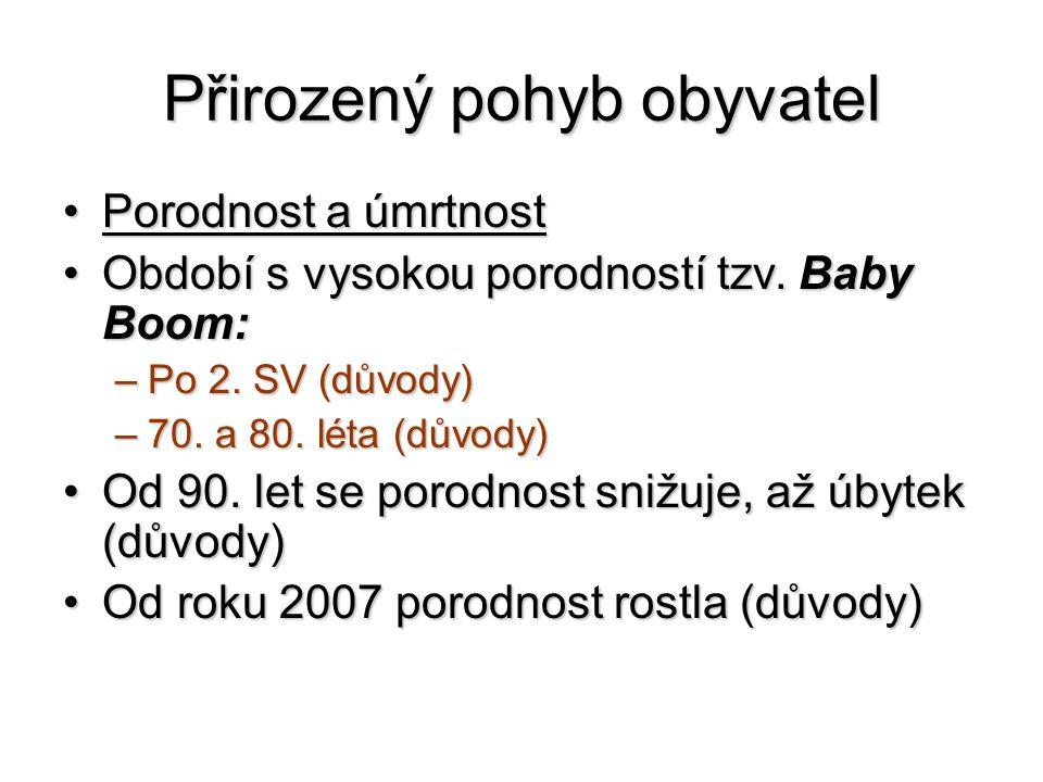 Přirozený pohyb obyvatel Porodnost a úmrtnostPorodnost a úmrtnost Období s vysokou porodností tzv.